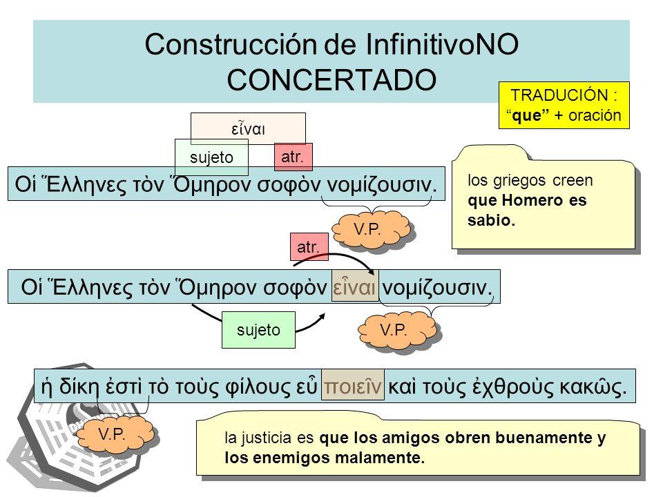 Construcción de InfinitivoNO CONCERTADO δκη στ τ τος φλους ε ποιεν κα τος χθρος κακς. Ο λληνες τν μηρον σοφν νομζουσιν. TRADUCIÓN : que + oración Ο λλ