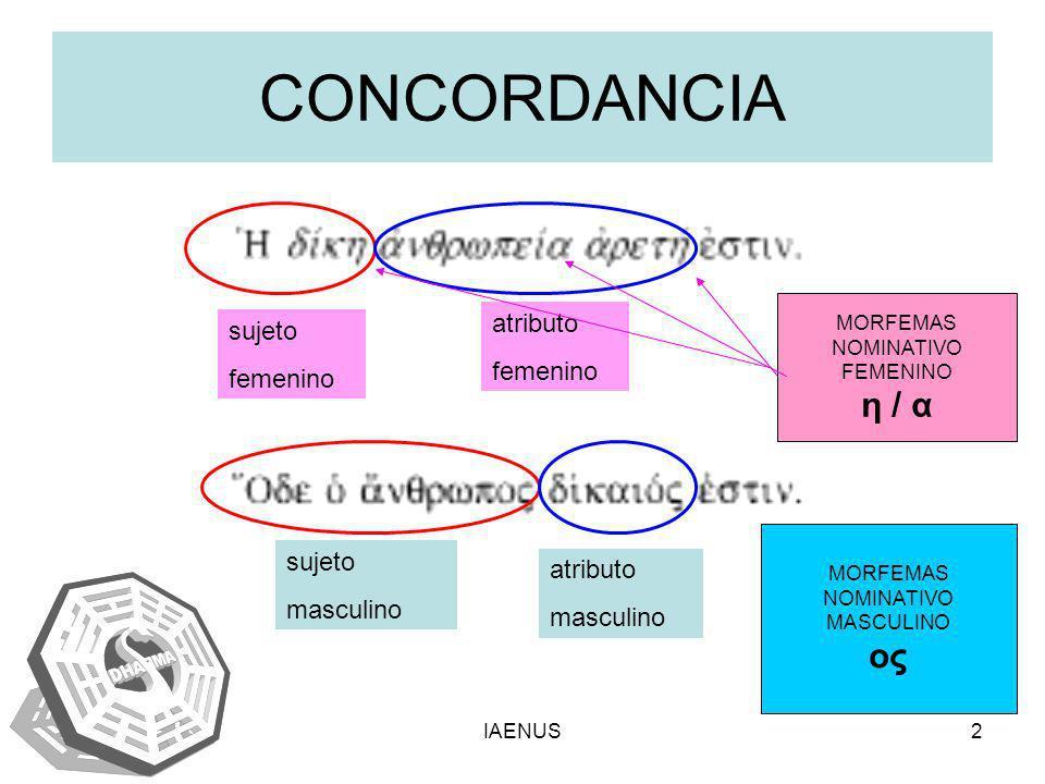 IAENUS3 –La CONCORDANCIA es la relación de forma o de sentido que se establece entre palabara variables dentro de frases u oraciones.