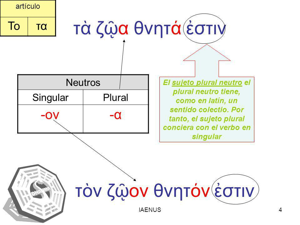 IAENUS4 τ ζα θνητ στιν Neutros SingularPlural -ον-α-α τν ζον θνητν στιν artículo Τοτα El sujeto plural neutro el plural neutro tiene, como en latín, u