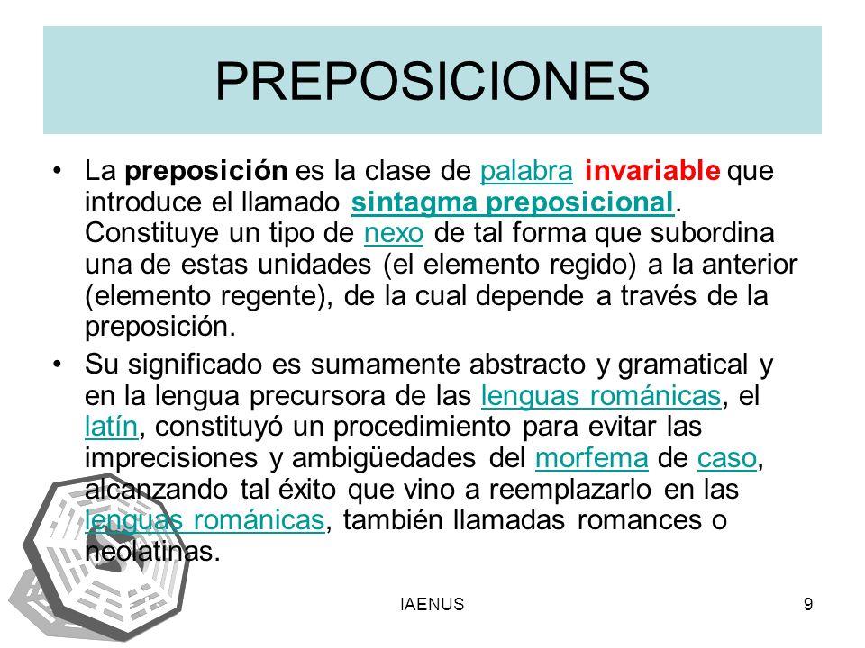 IAENUS9 PREPOSICIONES La preposición es la clase de palabra invariable que introduce el llamado sintagma preposicional. Constituye un tipo de nexo de