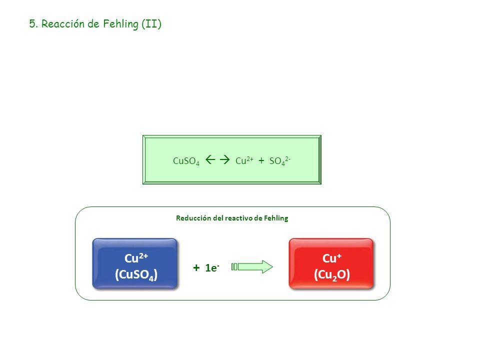 5. Reacción de Fehling (II) CuSO 4 Cu 2+ + SO 4 2- Reducción del reactivo de Fehling + 1e - Cu 2+ (CuSO 4 ) Cu + (Cu 2 O)
