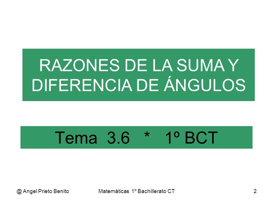 @ Angel Prieto BenitoMatemáticas 1º Bachillerato CT3 D Razones de la suma de ángulos SENO DE LA SUMA Sea: AB= sen α OB= cos α OC= cos β EC= sen β ED=sen (α+β) ED=EF+FD EF=EC.cos α = sen β.cos α FD=OC.sen α = cos β.sen α Luego: sen (α+β) = = sen β.cos α + cos β.sen α α A C BO E r=1 β α F