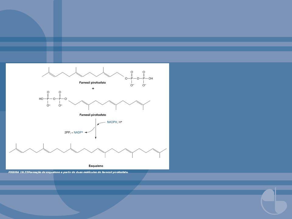 FIGURA 18.33Formação de esqualeno a partir de duas moléculas de farnesil pirofosfato.
