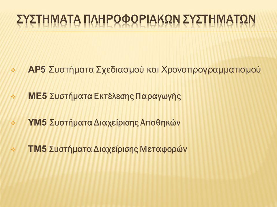  AP5 Συστήματα Σχεδιασμού και Χρονοπρογραμματισμού  ME5 Συστήματα Εκτέλεσης Παραγωγής  YM5 Συστήματα Διαχείρισης Αποθηκών  TM5 Συστήματα Διαχείρισ