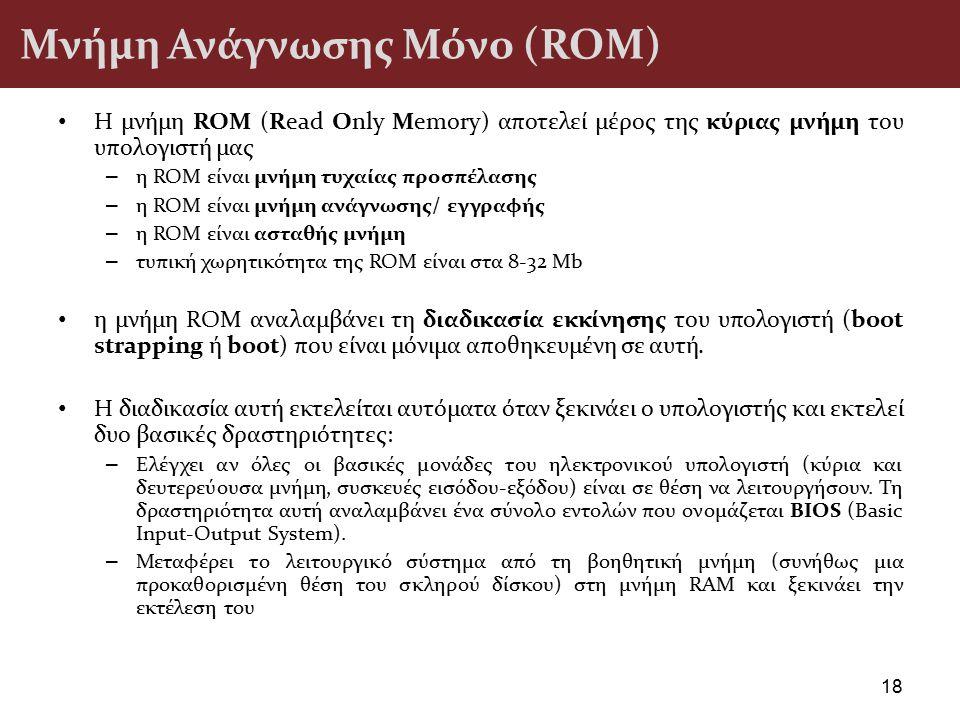 Μνήμη Ανάγνωσης Μόνο (ROM) Η μνήμη ROM (Read Only Memory) αποτελεί μέρος της κύριας μνήμη του υπολογιστή μας – η ROM είναι μνήμη τυχαίας προσπέλασης –