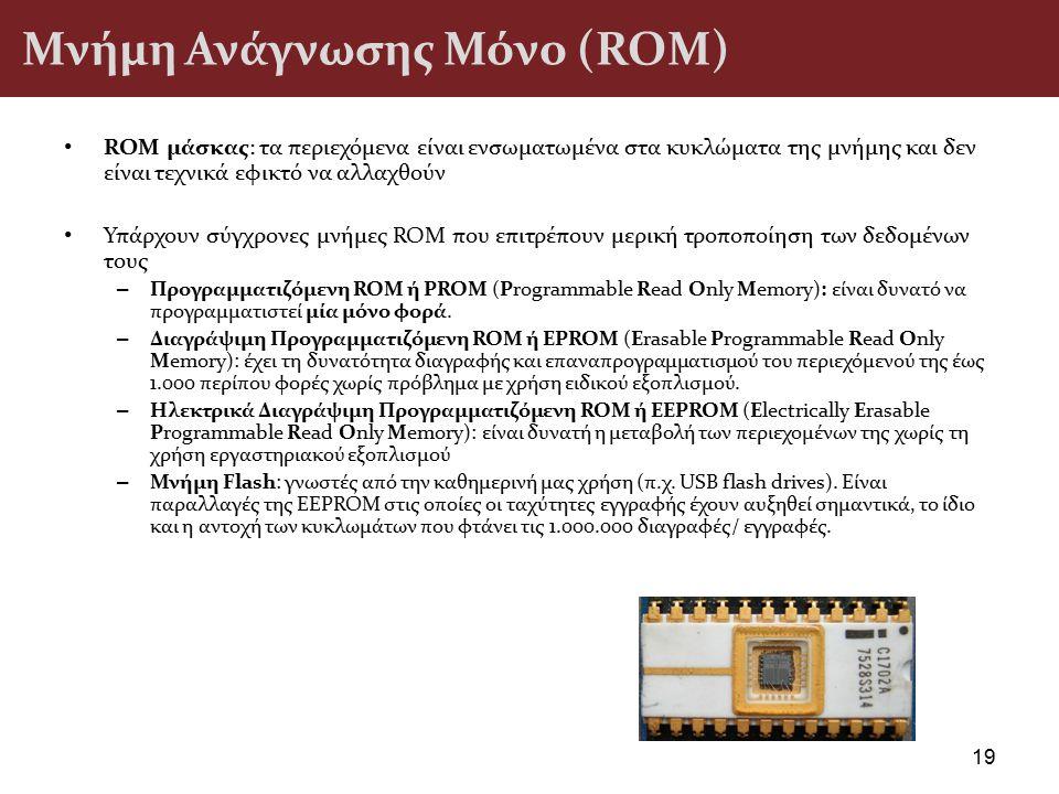 Μνήμη Ανάγνωσης Μόνο (ROM) ROM μάσκας: τα περιεχόμενα είναι ενσωματωμένα στα κυκλώματα της μνήμης και δεν είναι τεχνικά εφικτό να αλλαχθούν Υπάρχουν σ