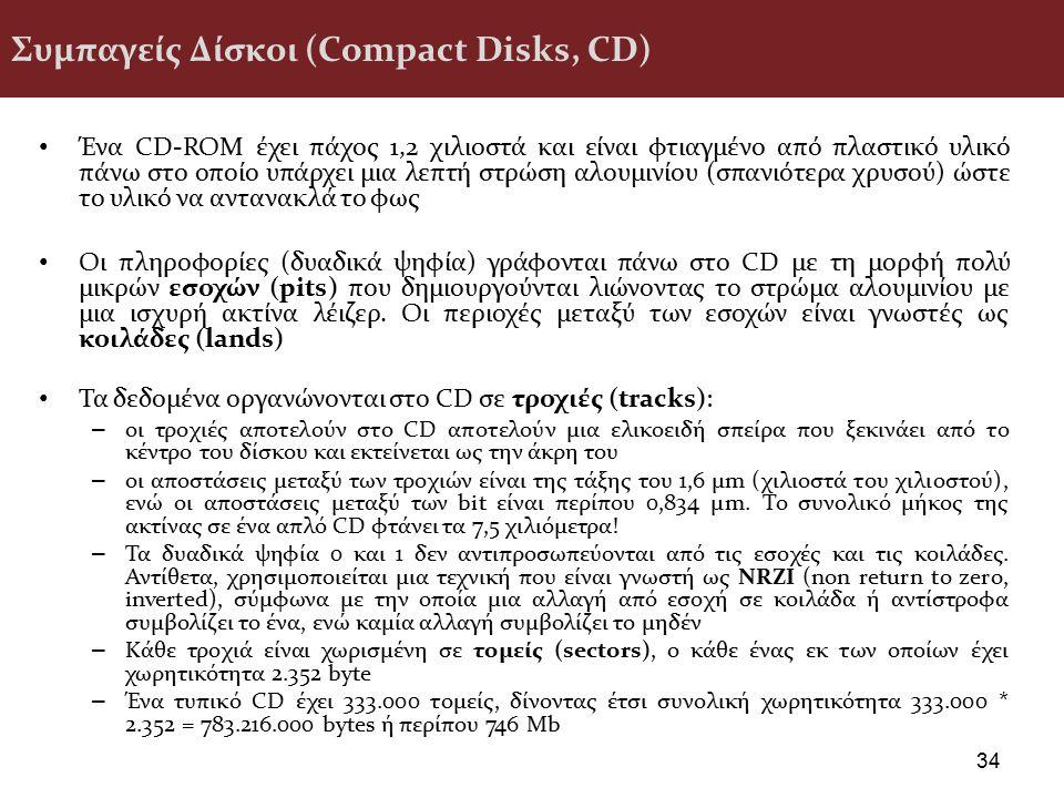 Συμπαγείς Δίσκοι (Compact Disks, CD) Ένα CD-ROM έχει πάχος 1,2 χιλιοστά και είναι φτιαγμένο από πλαστικό υλικό πάνω στο οποίο υπάρχει μια λεπτή στρώση