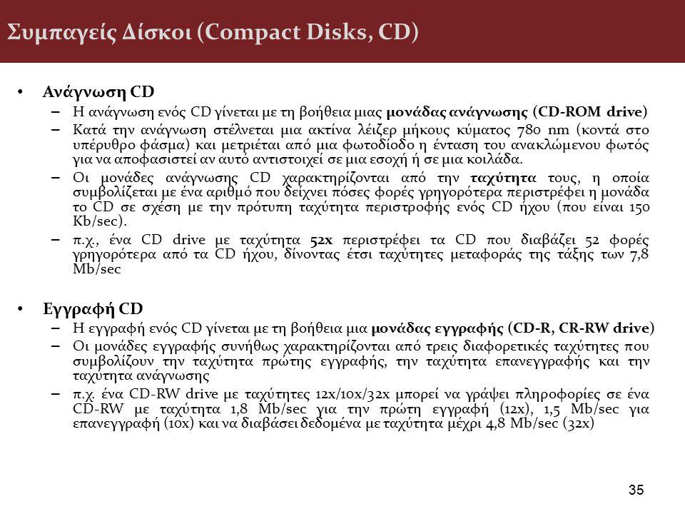 Συμπαγείς Δίσκοι (Compact Disks, CD) Ανάγνωση CD – Η ανάγνωση ενός CD γίνεται με τη βοήθεια μιας μονάδας ανάγνωσης (CD-ROM drive) – Κατά την ανάγνωση