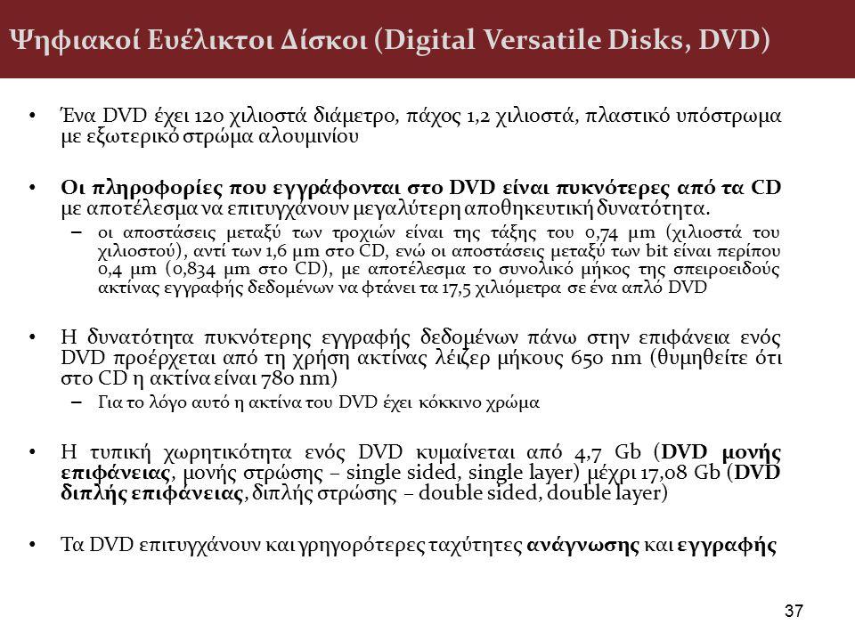 Ψηφιακοί Ευέλικτοι Δίσκοι (Digital Versatile Disks, DVD) Ένα DVD έχει 120 χιλιοστά διάμετρο, πάχος 1,2 χιλιοστά, πλαστικό υπόστρωμα με εξωτερικό στρώμ
