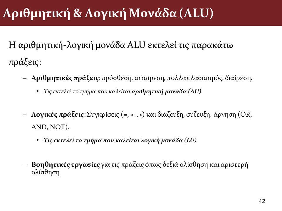 Αριθμητική & Λογική Μονάδα (ΑLU) Η αριθµητική-λογική µονάδα ALU εκτελεί τις παρακάτω πράξεις: – Αριθµητικές πράξεις: πρόσθεση, αφαίρεση, πολλαπλασιασµ