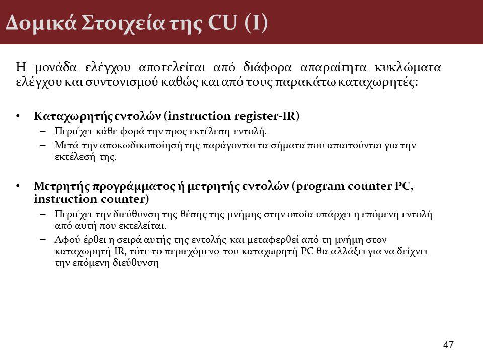 Δομικά Στοιχεία της CU (I) Η µονάδα ελέγχου αποτελείται από διάφορα απαραίτητα κυκλώµατα ελέγχου και συντονισµού καθώς και από τους παρακάτω καταχωρητ