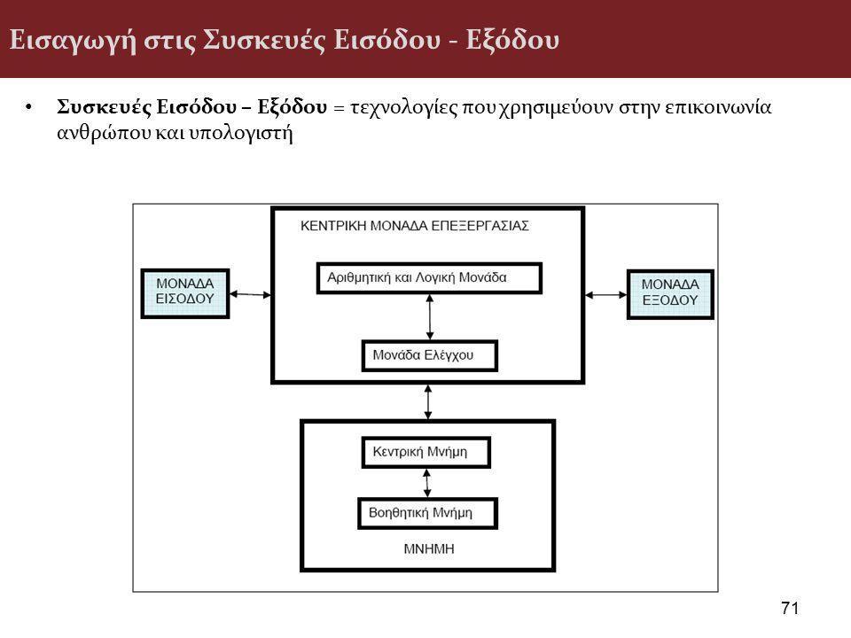 Εισαγωγή στις Συσκευές Εισόδου - Εξόδου Συσκευές Εισόδου – Εξόδου = τεχνολογίες που χρησιμεύουν στην επικοινωνία ανθρώπου και υπολογιστή 71