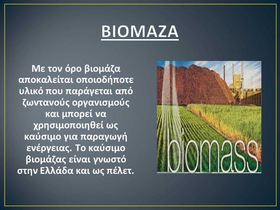 Με τον όρο βιομάζα αποκαλείται οποιοδήποτε υλικό που παράγεται από ζωντανούς οργανισμούς και μπορεί να χρησιμοποιηθεί ως καύσιμο για παραγωγή ενέργεια