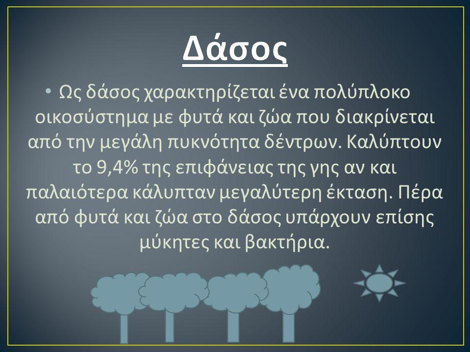 Ως δάσος χαρακτηρίζεται ένα πολύπλοκο οικοσύστημα με φυτά και ζώα που διακρίνεται από την μεγάλη πυκνότητα δέντρων. Καλύπτουν το 9,4% της επιφάνειας τ