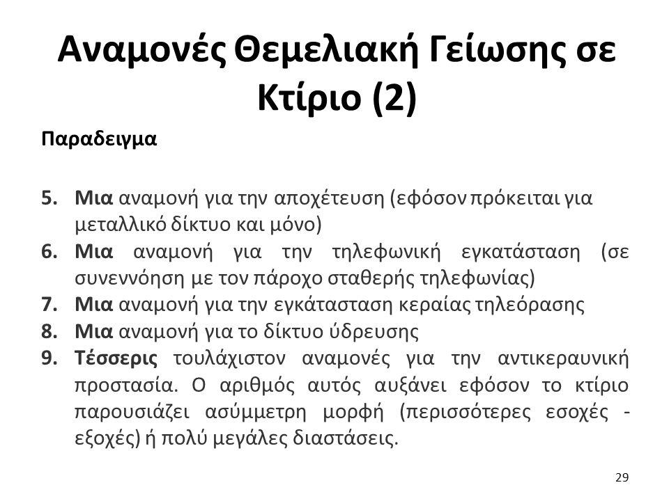 Αναμονές Θεμελιακή Γείωσης σε Κτίριο (2) Παραδειγμα 5.Μια αναμονή για την αποχέτευση (εφόσον πρόκειται για μεταλλικό δίκτυο και μόνο) 6.Μια αναμονή γι