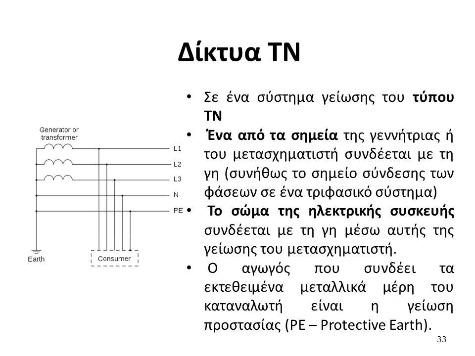 Δίκτυα ΤΝ Σε ένα σύστημα γείωσης του τύπου TN Ένα από τα σημεία της γεννήτριας ή του μετασχηματιστή συνδέεται με τη γη (συνήθως το σημείο σύνδεσης των φάσεων σε ένα τριφασικό σύστημα) Το σώμα της ηλεκτρικής συσκευής συνδέεται με τη γη μέσω αυτής της γείωσης του μετασχηματιστή.