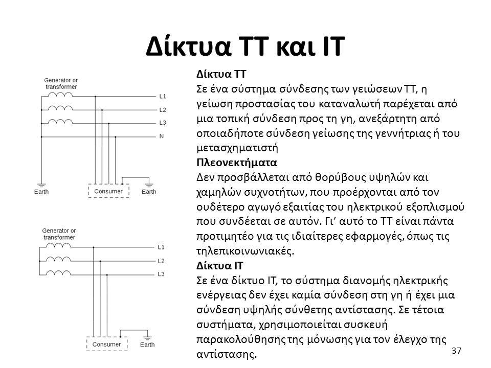 Δίκτυα TT και IT Δίκτυα ΤΤ Σε ένα σύστημα σύνδεσης των γειώσεων TT, η γείωση προστασίας του καταναλωτή παρέχεται από μια τοπική σύνδεση προς τη γη, ανεξάρτητη από οποιαδήποτε σύνδεση γείωσης της γεννήτριας ή του μετασχηματιστή Πλεονεκτήματα Δεν προσβάλλεται από θορύβους υψηλών και χαμηλών συχνοτήτων, που προέρχονται από τον ουδέτερο αγωγό εξαιτίας του ηλεκτρικού εξοπλισμού που συνδέεται σε αυτόν.
