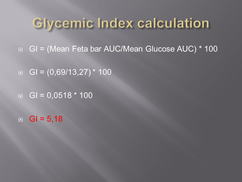  GI = (Mean Feta bar AUC/Mean Glucose AUC) * 100  GI = (0,69/13,27) * 100  GI = 0,0518 * 100  GI = 5,18