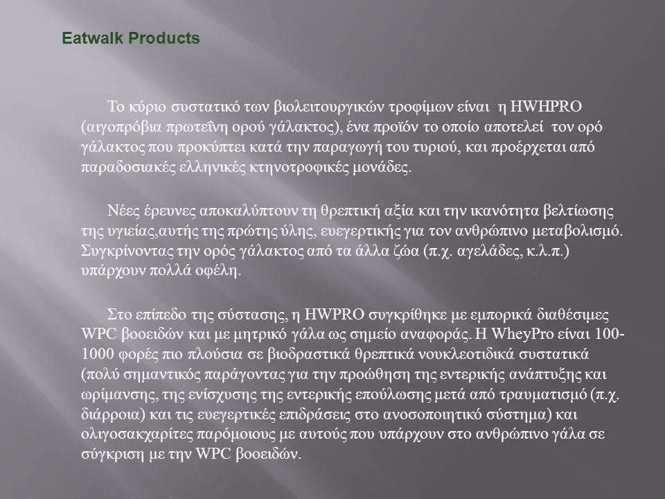 Το κύριο συστατικό των βιολειτουργικών τροφίμων είναι η HWHPRO ( αιγοπρόβια πρωτεΐνη ορού γάλακτος ), ένα προϊόν το οποίο αποτελεί τον ορό γάλακτος πο
