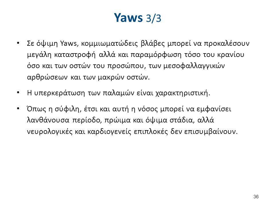 Yaws 3/3 Σε όψιμη Yaws, κομμιωματώδεις βλάβες μπορεί να προκαλέσουν μεγάλη καταστροφή αλλά και παραμόρφωση τόσο του κρανίου όσο και των οστών του προσ