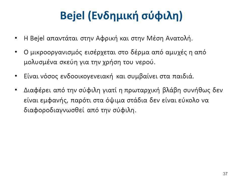 Bejel (Ενδημική σύφιλη) Η Bejel απαντάται στην Αφρική και στην Μέση Ανατολή. Ο μικροοργανισμός εισέρχεται στο δέρμα από αμυχές η από μολυσμένα σκεύη γ