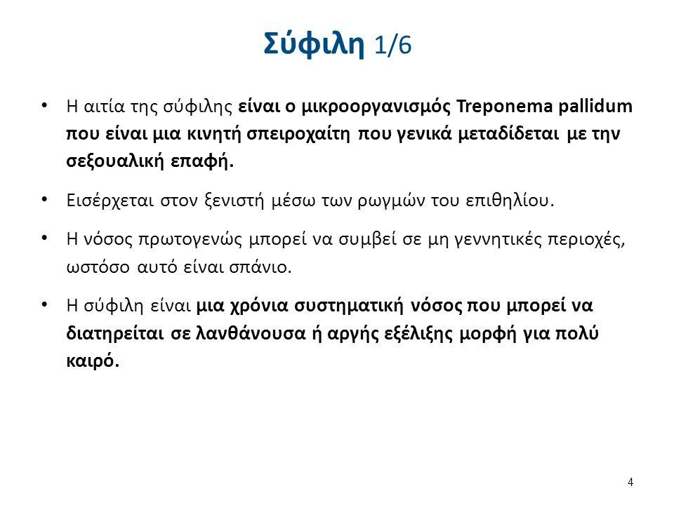 Σύφιλη 1/6 Η αιτία της σύφιλης είναι ο μικροοργανισμός Treponema pallidum που είναι μια κινητή σπειροχαίτη που γενικά μεταδίδεται με την σεξουαλική επ