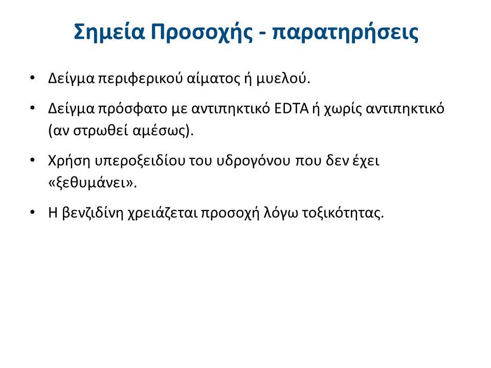 Σημεία Προσοχής - παρατηρήσεις Δείγμα περιφερικού αίματος ή μυελού. Δείγμα πρόσφατο με αντιπηκτικό EDTA ή χωρίς αντιπηκτικό (αν στρωθεί αμέσως). Χρήση