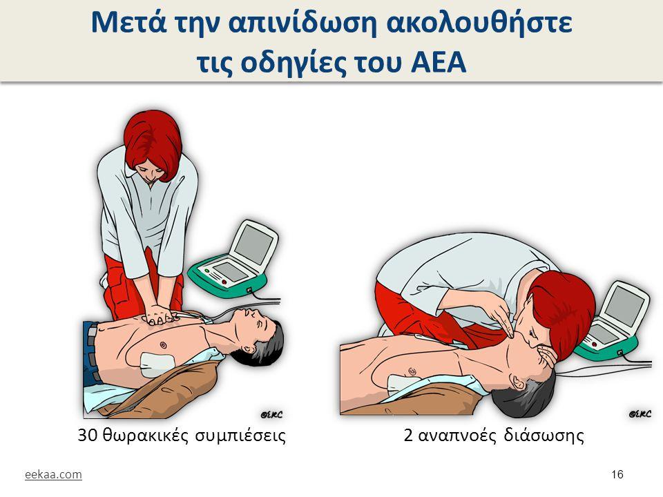 Μετά την απινίδωση ακολουθήστε τις οδηγίες του ΑΕΑ 30 θωρακικές συμπιέσεις2 αναπνοές διάσωσης eekaa.com 16