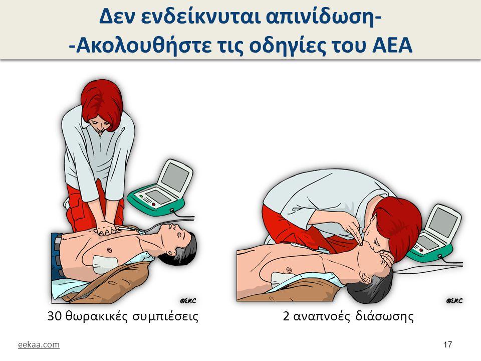Δεν ενδείκνυται απινίδωση- -Ακολουθήστε τις οδηγίες του ΑΕΑ 30 θωρακικές συμπιέσεις 2 αναπνοές διάσωσης eekaa.com 17