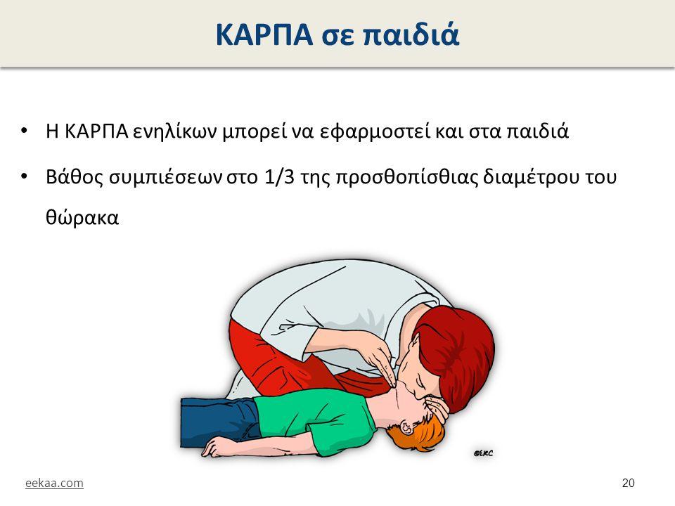 ΚΑΡΠΑ σε παιδιά Η ΚΑΡΠΑ ενηλίκων μπορεί να εφαρμοστεί και στα παιδιά Βάθος συμπιέσεων στο 1/3 της προσθοπίσθιας διαμέτρου του θώρακα eekaa.com 20