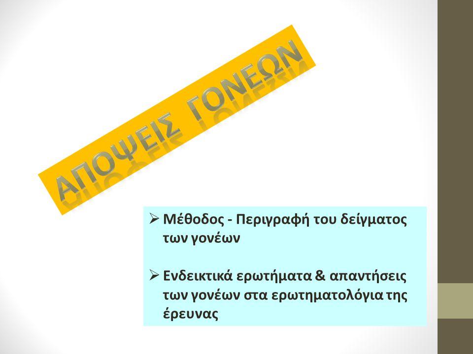  Μέθοδος - Περιγραφή του δείγματος των γονέων  Ενδεικτικά ερωτήματα & απαντήσεις των γονέων στα ερωτηματολόγια της έρευνας
