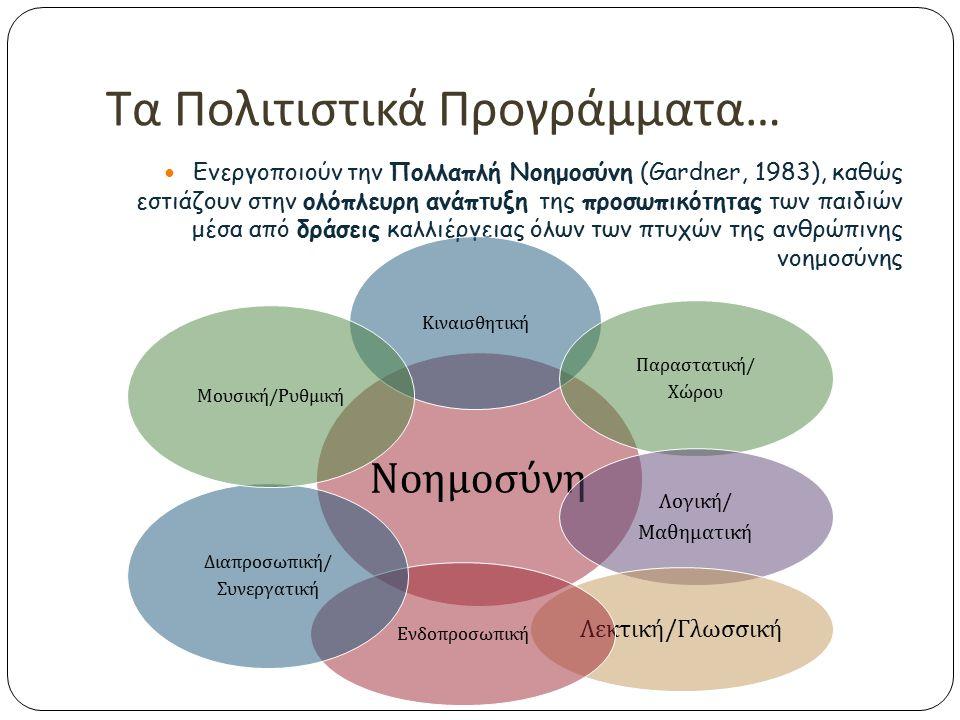 Φιλοσοφία Πολιτιστικών Προγραμμάτων Στηρίζονται στις Παιδαγωγικές Αρχές :  Ολιστική Αντίληψη και Πρόσληψη της Γνώσης  Διεπιστημονική - Διαθεματική Π