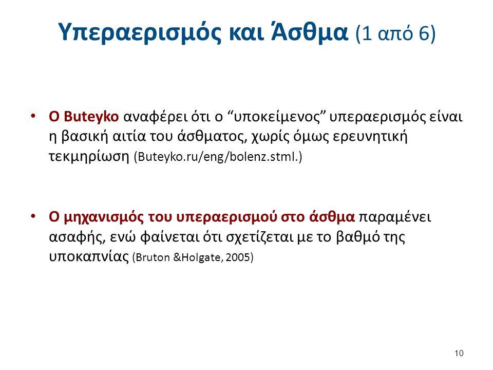 """Υπεραερισμός και Άσθμα (1 από 6) Ο Buteyko αναφέρει ότι ο """"υποκείμενος"""" υπεραερισμός είναι η βασική αιτία του άσθματος, χωρίς όμως ερευνητική τεκμηρίω"""
