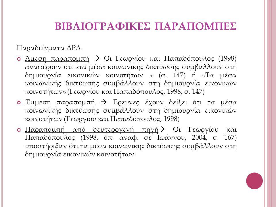ΒΙΒΛΙΟΓΡΑΦΙΚΕΣ ΠΑΡΑΠΟΜΠΕΣ Παραδείγματα ΑΡΑ Άμεση παραπομπή  Οι Γεωργίου και Παπαδόπουλος (1998) αναφέρουν ότι «τα μέσα κοινωνικής δικτύωσης συμβάλλουν στη δημιουργία εικονικών κοινοτήτων » (σ.