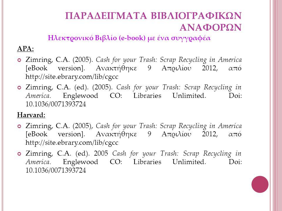 ΠΑΡΑΔΕΙΓΜΑΤΑ ΒΙΒΛΙΟΓΡΑΦΙΚΩΝ ΑΝΑΦΟΡΩΝ Ηλεκτρονικό Βιβλίο (e-book) με ένα συγγραφέα APA: Zimring, C.A.