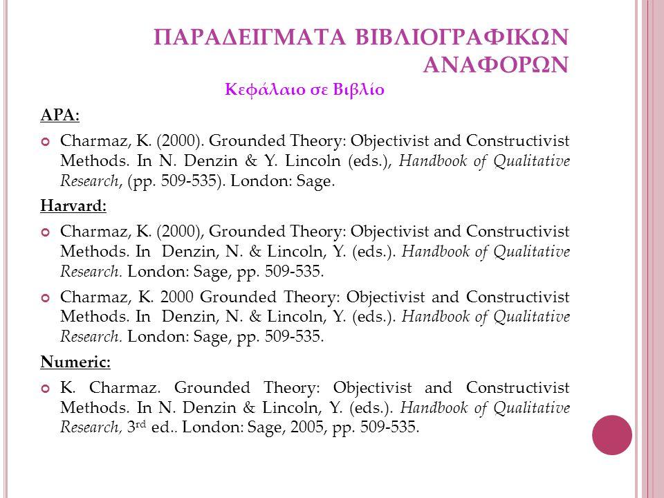 ΠΑΡΑΔΕΙΓΜΑΤΑ ΒΙΒΛΙΟΓΡΑΦΙΚΩΝ ΑΝΑΦΟΡΩΝ Κεφάλαιο σε Βιβλίο APA: Charmaz, K.