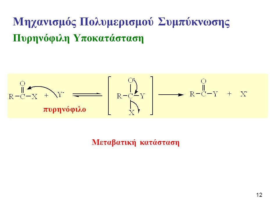 12 Μηχανισμός Πολυμερισμού Συμπύκνωσης Πυρηνόφιλη Υποκατάσταση πυρηνόφιλο Μεταβατική κατάσταση