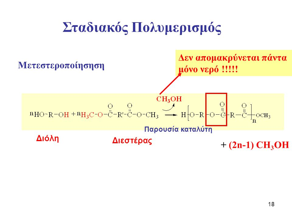 18 Δεν απομακρύνεται πάντα μόνο νερό !!!!! + (2n-1) CH 3 OH Σταδιακός Πολυμερισμός Διόλη Διεστέρας Μετεστεροποίησηση Παρουσία καταλύτη