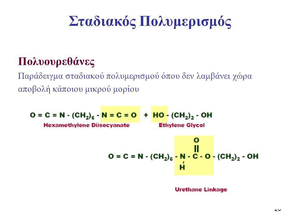 20 Πολυουρεθάνες Παράδειγμα σταδιακού πολυμερισμού όπου δεν λαμβάνει χώρα αποβολή κάποιου μικρού μορίου Σταδιακός Πολυμερισμός