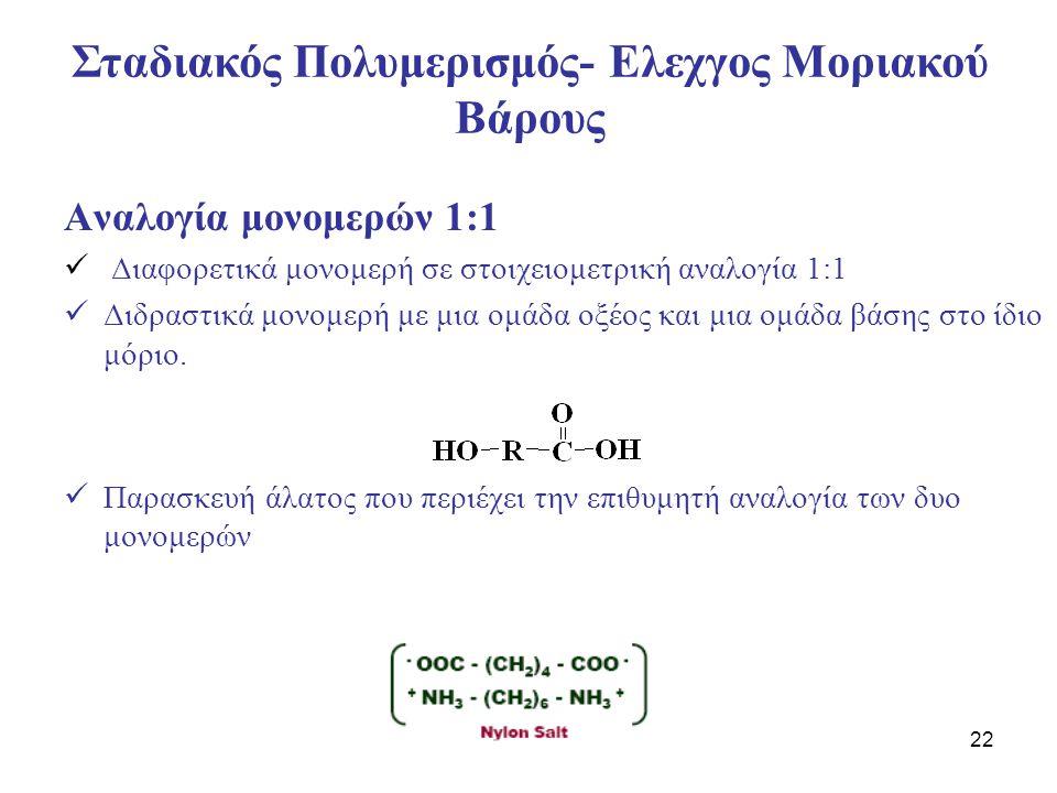 22 Αναλογία μονομερών 1:1 Διαφορετικά μονομερή σε στοιχειομετρική αναλογία 1:1 Διδραστικά μονομερή με μια ομάδα οξέος και μια ομάδα βάσης στο ίδιο μόρ
