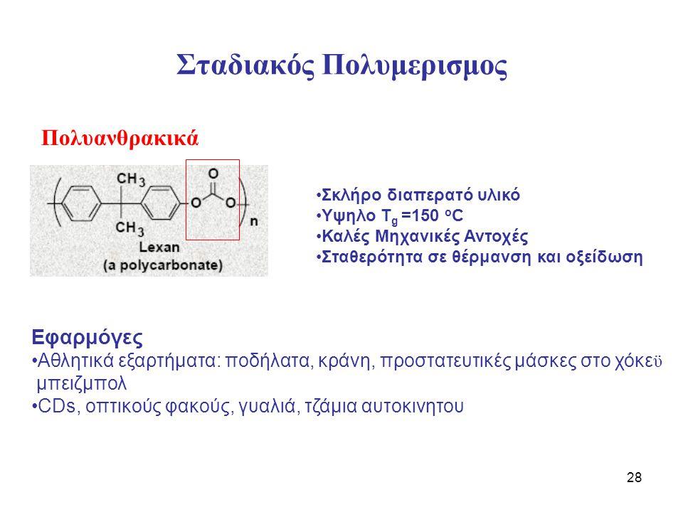 28 Σταδιακός Πολυμερισμος Πολυανθρακικά Σκλήρο διαπερατό υλικό Υψηλο Τ g =150 o C Καλές Μηχανικές Αντοχές Σταθερότητα σε θέρμανση και οξείδωση Εφαρμόγες Αθλητικά εξαρτήματα: ποδήλατα, κράνη, προστατευτικές μάσκες στο χόκε ϋ μπειζμπολ CDs, οπτικούς φακούς, γυαλιά, τζάμια αυτοκινητου