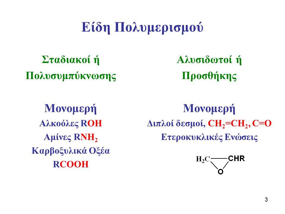 3 Είδη Πολυμερισμού Σταδιακοί ή Πολυσυμπύκνωσης Μονομερή Αλκοόλες ROH Αμίνες RNH 2 Καρβοξυλικά Οξέα RCOOH Αλυσιδωτοί ή Προσθήκης Μονομερή Διπλοί δεσμοί, CH 2 =CH 2, C=O Ετεροκυκλικές Ενώσεις