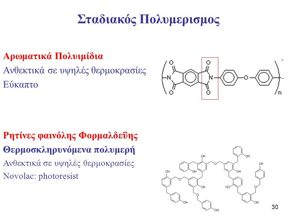 30 Αρωματικά Πολυιμίδια Ανθεκτικά σε υψηλές θερμοκρασίες Εύκαπτο Σταδιακός Πολυμερισμος Ρητίνες φαινόλης Φορμαλδεΰης Θερμοσκληρυνόμενα πολυμερή Ανθεκτικά σε υψηλές θερμοκρασίες Novolac: photoresist
