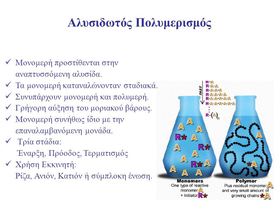 35 Αλυσιδωτός Πολυμερισμός Μονομερή προστίθενται στην αναπτυσσόμενη αλυσίδα. Τα μονομερή καταναλώνονταν σταδιακά. Συνυπάρχουν μονομερή και πολυμερή. Γ