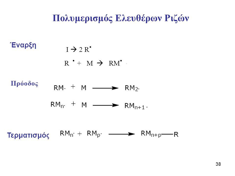 38 Πολυμερισμός Ελευθέρων Ριζών Έναρξη Πρόοδoς Τερματισμός Ι  2 R. R. + M  RM..