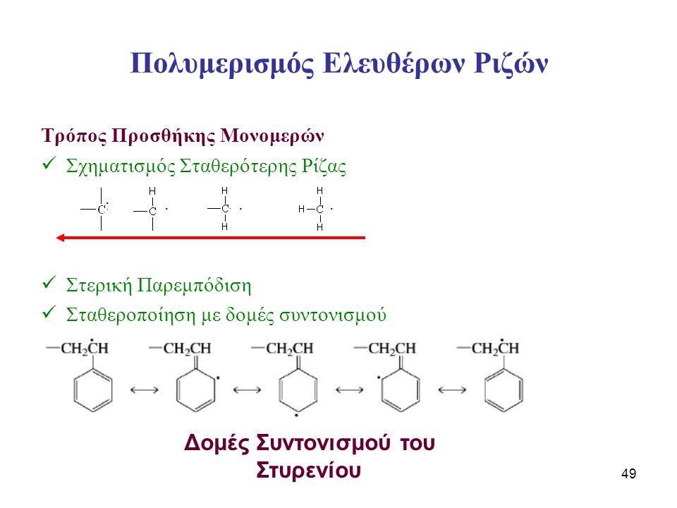 49 Πολυμερισμός Ελευθέρων Ριζών Τρόπος Προσθήκης Μονομερών Σχηματισμός Σταθερότερης Ρίζας Στερική Παρεμπόδιση Σταθεροποίηση με δομές συντονισμού Δομές