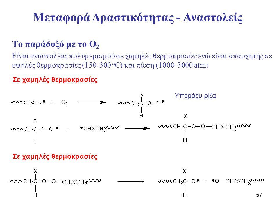 57 Το παράδοξό με το Ο 2 Είναι αναστολέας πολυμερισμού σε χαμηλές θερμοκρασίες ενώ είναι απαρχητής σε υψηλές θερμοκρασίες (150-300 ο C) και πίεση (100