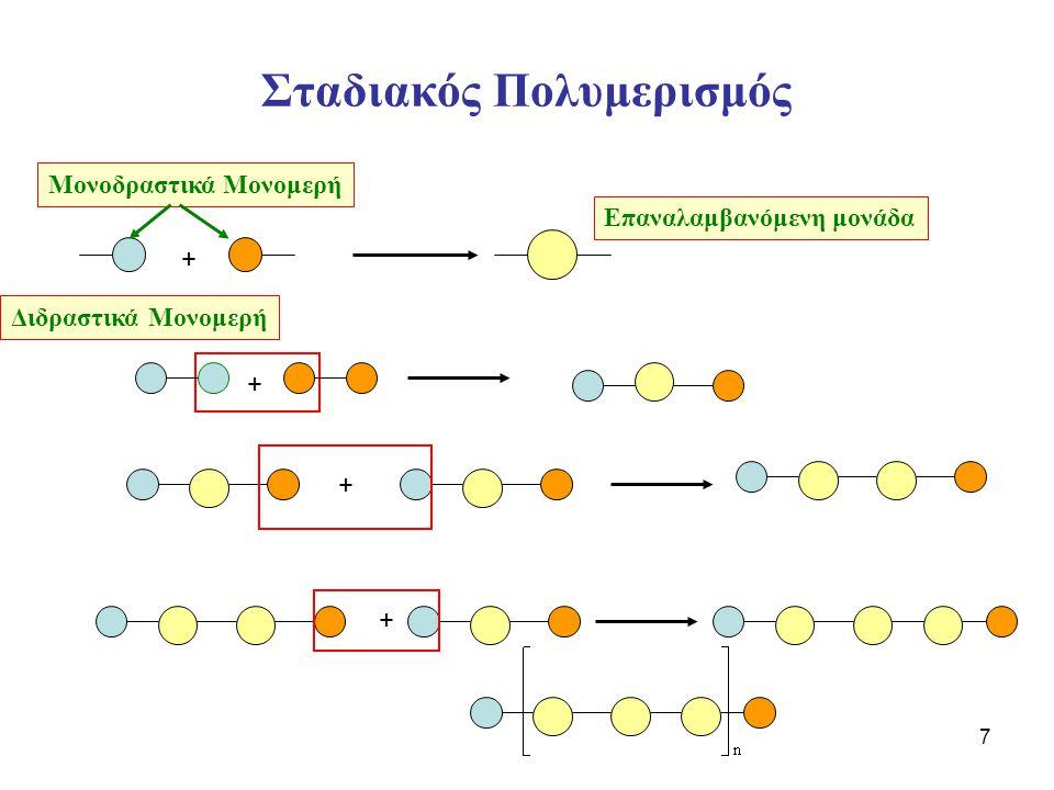 8 Σταδιακός Πολυμερισμός – Σύνθεση Πολυεστέρα Δυο Διδραστικά Μονομερή αντιδρούν και σχηματίζουν ένα διμερές με ταυτόχρονη αποβολή ενός μορίου Η 2 Ο Διόλη Διοξύ