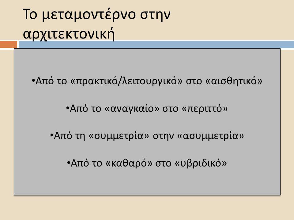 Το μεταμοντέρνο στην αρχιτεκτονική Α π ό το «π ρακτικό / λειτουργικό » στο « αισθητικό » Α π ό το « αναγκαίο » στο «π εριττό » Α π ό τη « συμμετρία » στην « ασυμμετρία » Α π ό το « καθαρό » στο « υβριδικό » Α π ό το «π ρακτικό / λειτουργικό » στο « αισθητικό » Α π ό το « αναγκαίο » στο «π εριττό » Α π ό τη « συμμετρία » στην « ασυμμετρία » Α π ό το « καθαρό » στο « υβριδικό »