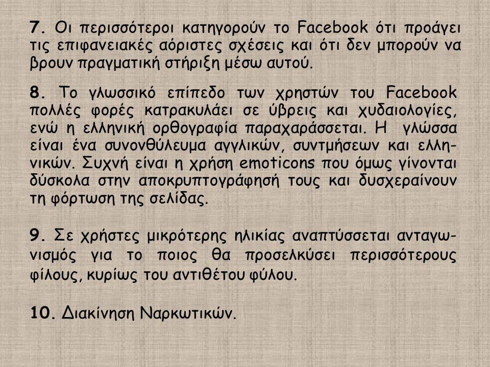 7. Οι περισσότεροι κατηγορούν το Facebook ότι προάγει τις επιφανειακές αόριστες σχέσεις και ότι δεν μπορούν να βρουν πραγματική στήριξη μέσω αυτού. 8.